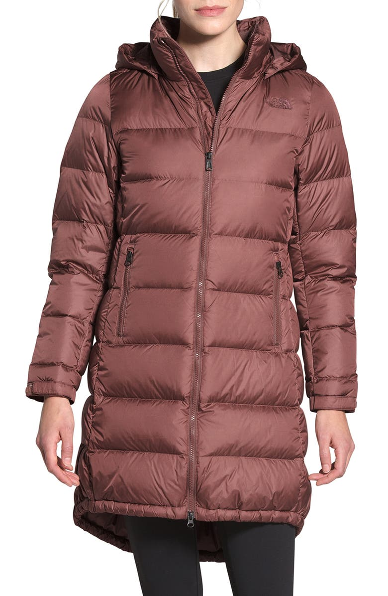 THE NORTH FACE Metropolis II Water Repellent 550 Fill Power Down Hooded Parka, Main, color, MARRON PURPLE