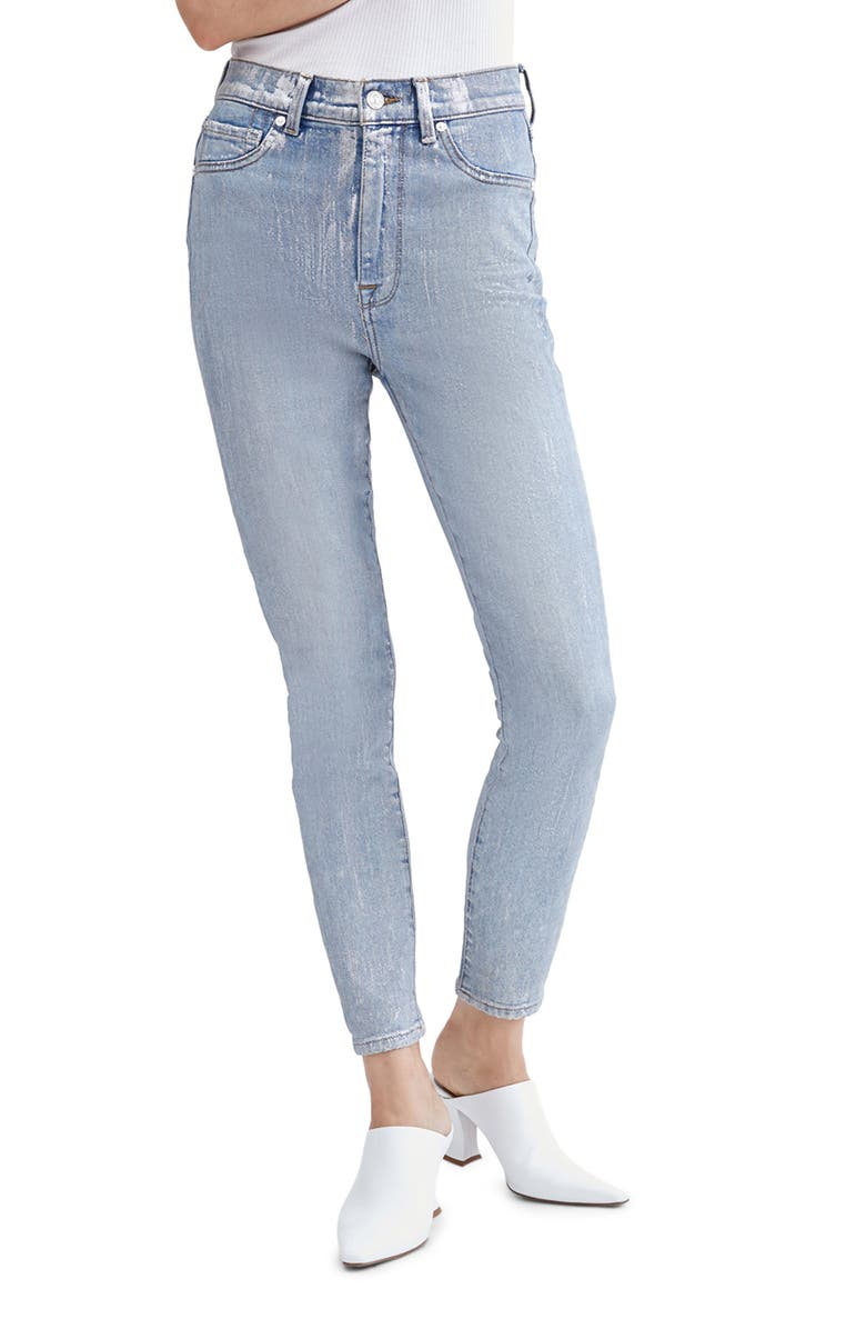 7 FOR ALL MANKIND<SUP>®</SUP> High Waist Ankle Skinny Jeans, Main, color, ASPEN FOIL