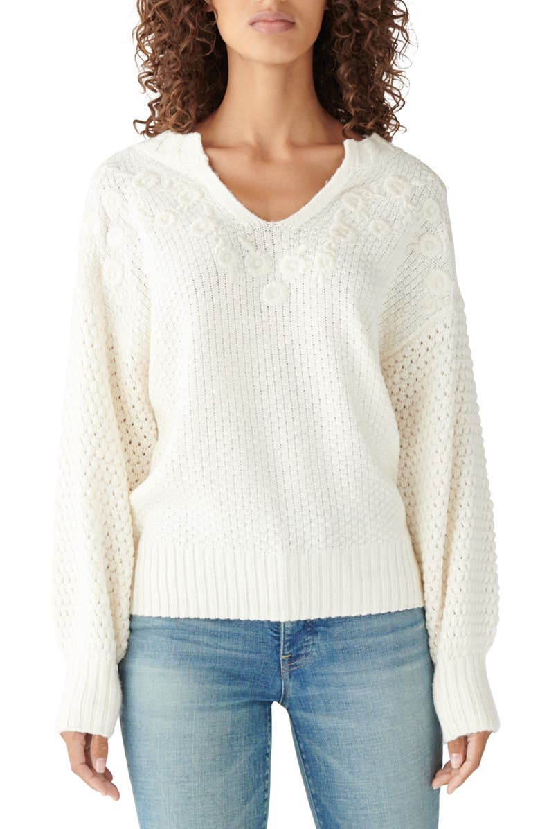 LUCKY BRAND Floral Embroidered Split-Neck Sweater, Main, color, SNOW WHITE