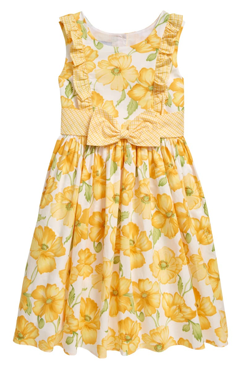PIPPA & JULIE Kids' Floral Fit & Flare Dress, Main, color, YELLOW/ WHITE