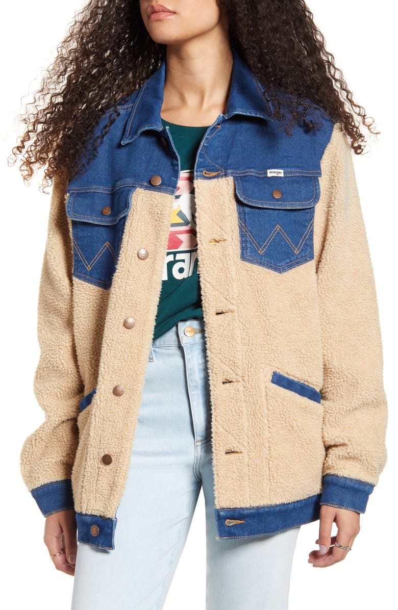 WRANGLER Oversized Faux Shearling & Denim Jacket, Main, color, 434