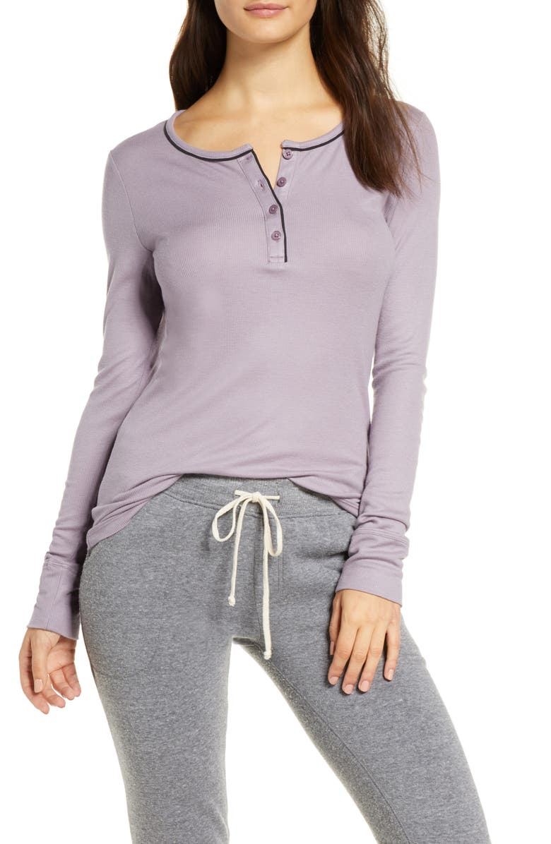 TOMMY JOHN Ribbed Long Sleeve Henley Top, Main, color, 053