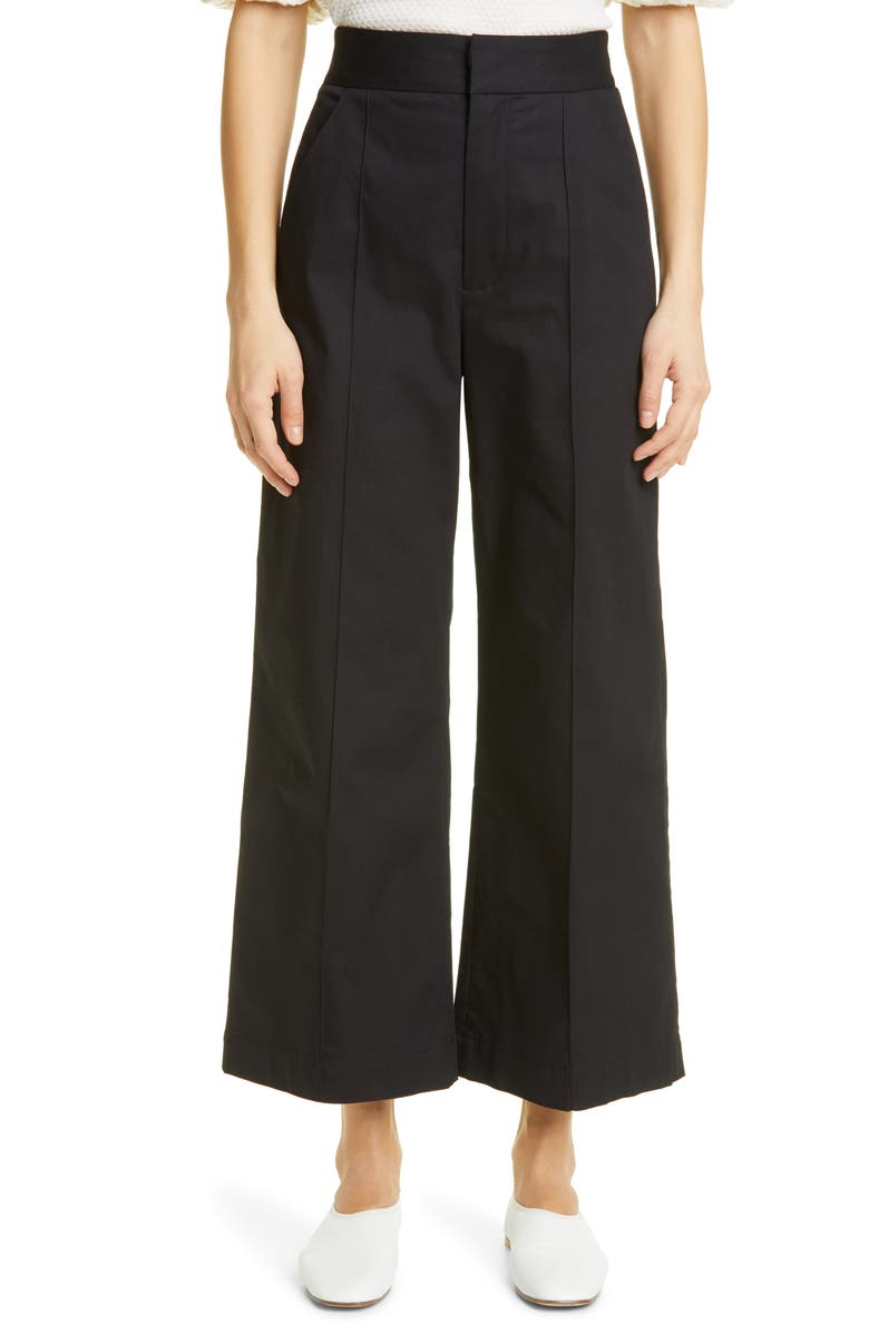 MERLETTE Piedra Pintuck Stretch Twill Wide Leg Ankle Pants, Main, color, Black