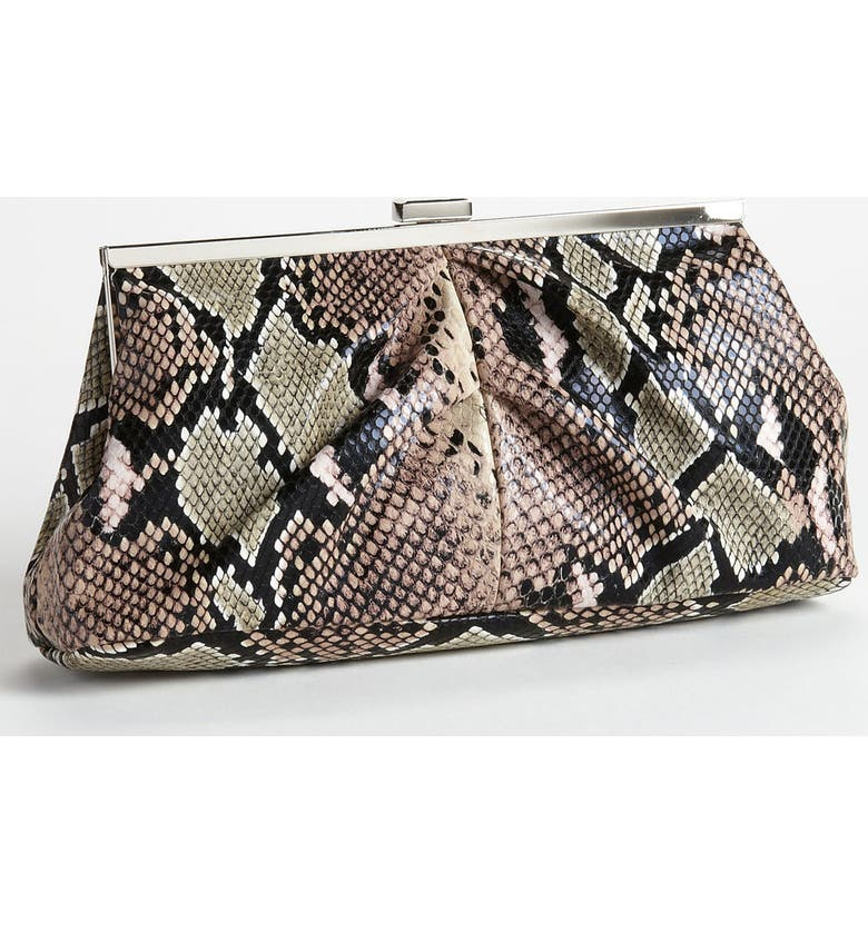 ZZDNU NATASHA COUTURE Natasha Couture Snake Print Clutch, Main, color, 274