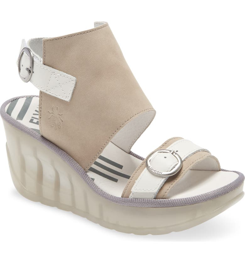 FLY LONDON Jeno Wedge Sandal, Main, color, CLOUD/ OFF WHITE LEATHER