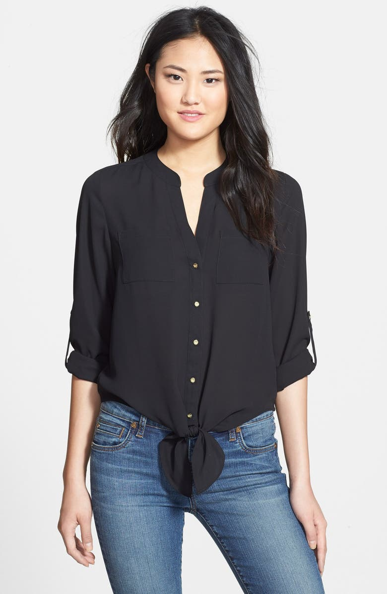 CHAUS Roll Sleeve Tie Front Blouse, Main, color, RICH BLACK