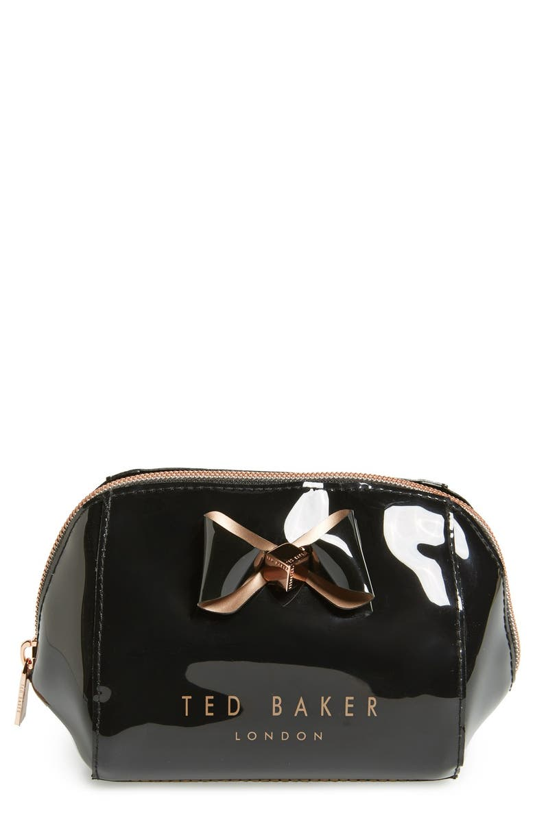 TED BAKER LONDON 'Bow Trapeze - Small Washbag' Cosmetics Case, Main, color, 001