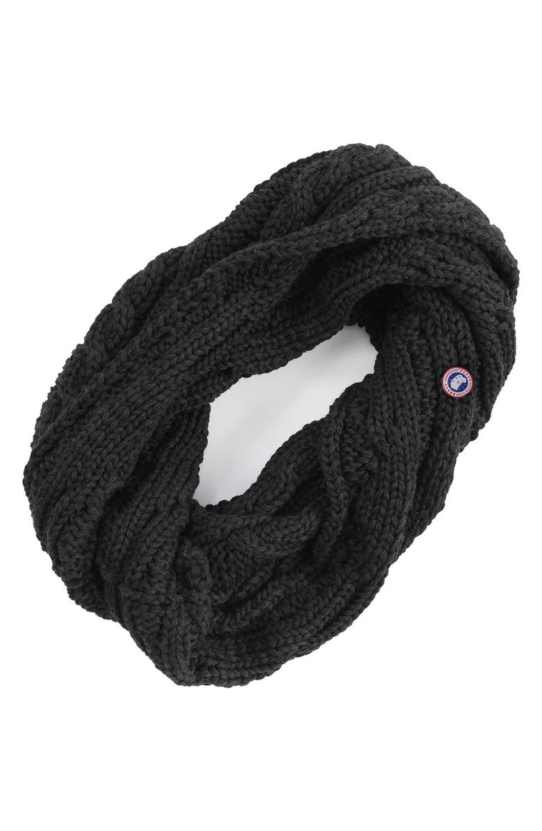 CANADA GOOSE Chunky Cable Wool Snood, Main, color, Black