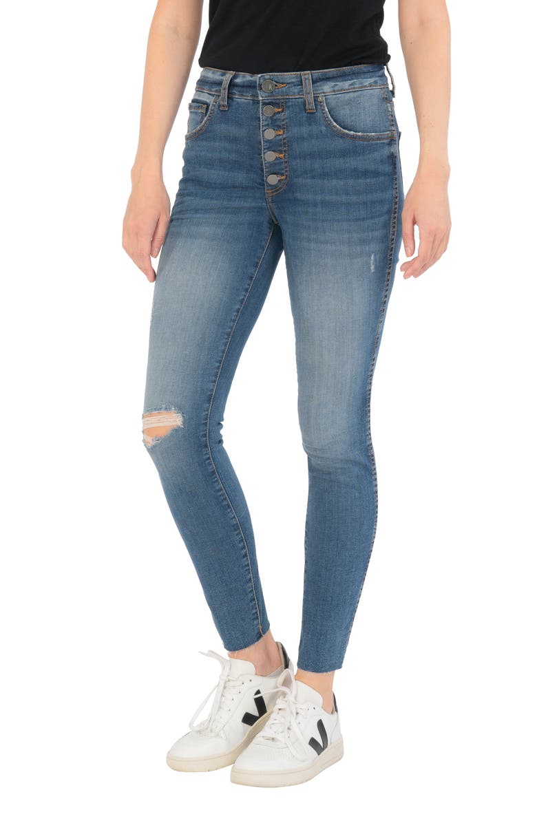 KUT FROM THE KLOTH Donna Fab Ab Exposed Button Ripped Ankle Skinny Jeans, Main, color, NOTABLE