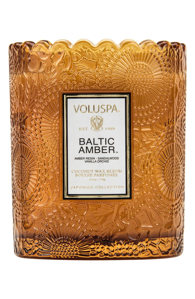 VOLUSPA Japonica Baltic Amber Scalloped Edge Embossed Glass Candle, Main, color, 000