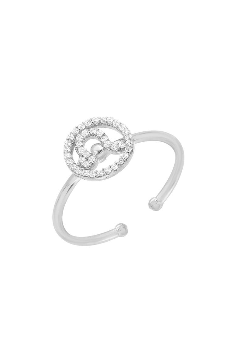 MINI MINI JEWELS Halo Zodiac Sign Diamond Ring, Main, color, WHITE GOLD-LEO