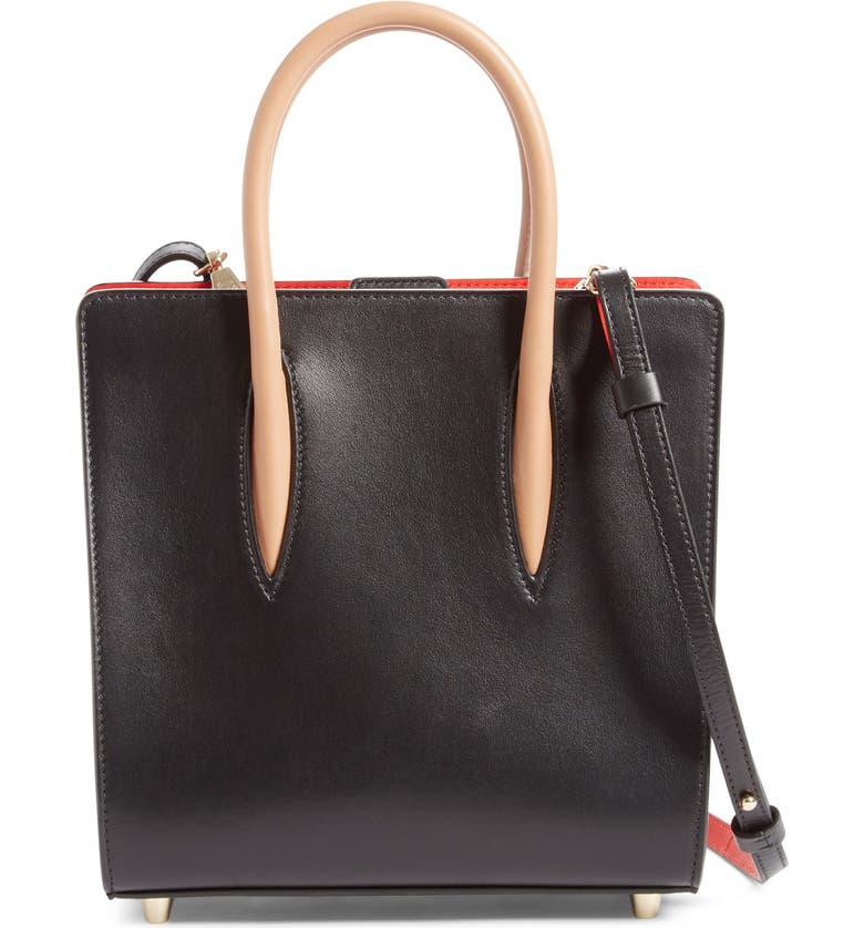 CHRISTIAN LOUBOUTIN 'Small Paloma' Calfskin Leather Tote, Main, color, BLACK/ BROWN
