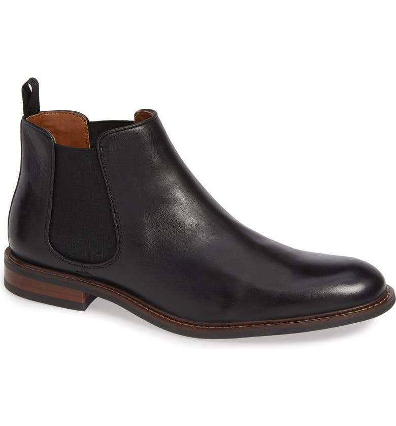 NORDSTROM David Chelsea Boot, Main, color, BLACK LEATHER