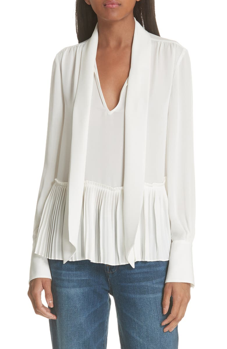 FRAME Pleated Peplum Blouse, Main, color, OFF WHITE