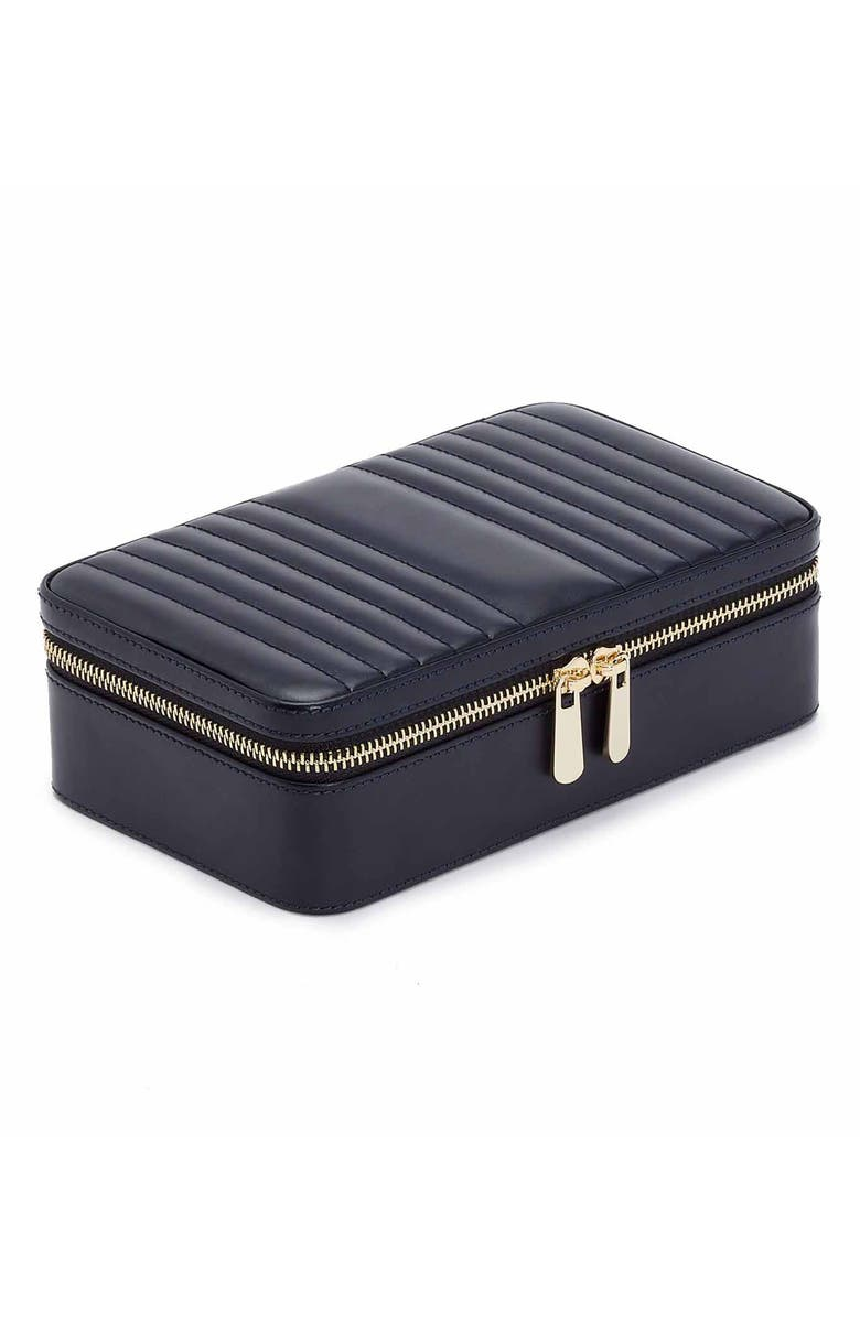 WOLF Maria Zip Rectangle Jewelry Case, Main, color, NAVY