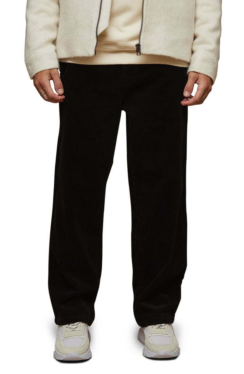 TOPMAN Wide Leg Corduroy Trousers, Main, color, 001