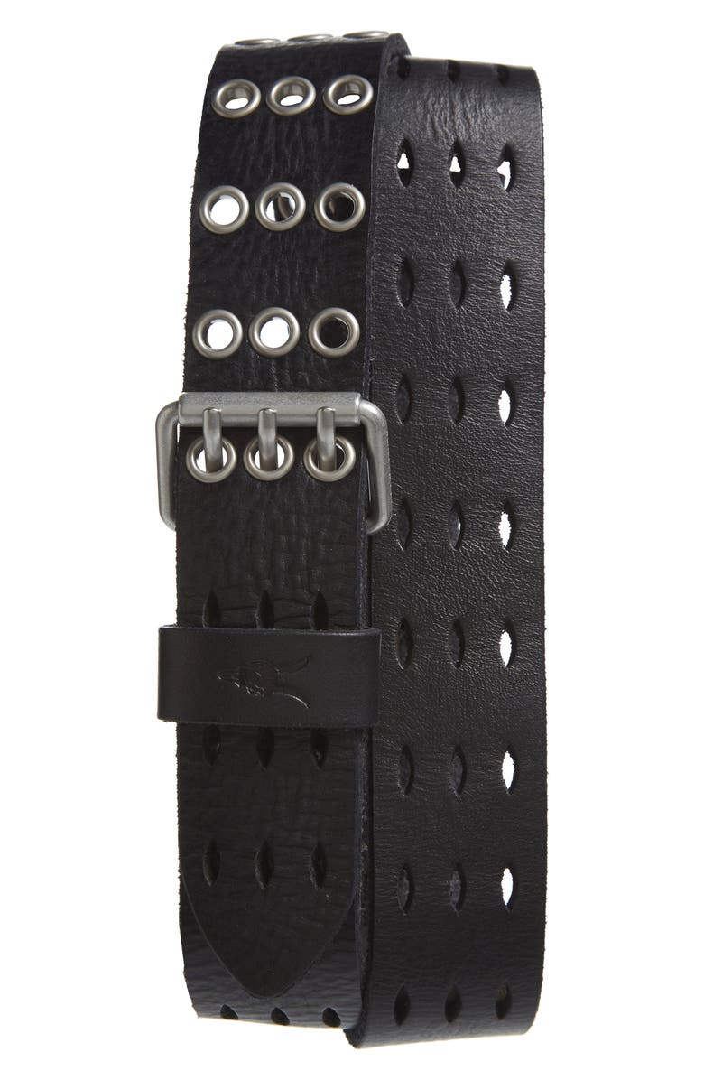 ALLSAINTS Perforated Leather Belt, Main, color, 001