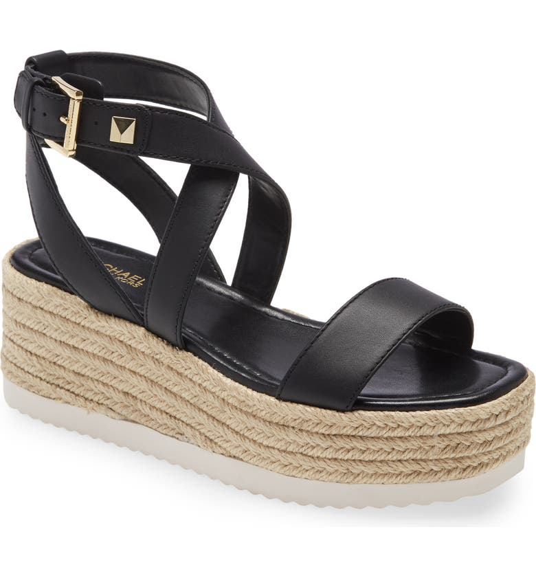 MICHAEL MICHAEL KORS Lowry Platform Wedge Sandal, Main, color, BLACK LEATHER/ JUTE