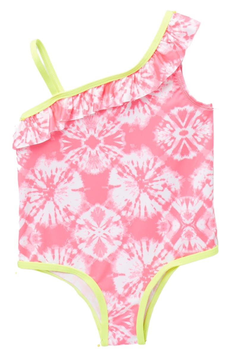 PINK PLATINUM Ruffle Tie Dye One-Piece Swimsuit, Main, color, KNOCKOUT PINK