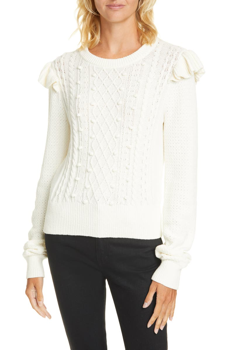 VERONICA BEARD Earl Ruffle Shoulder Cable Knit Sweater, Main, color, 101