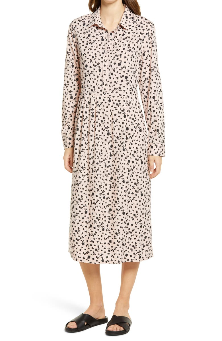 CASLON<SUP>®</SUP> Pleat Long Sleeve Midi Shirtdress, Main, color, PINK SMOKE CHIC FLORAL