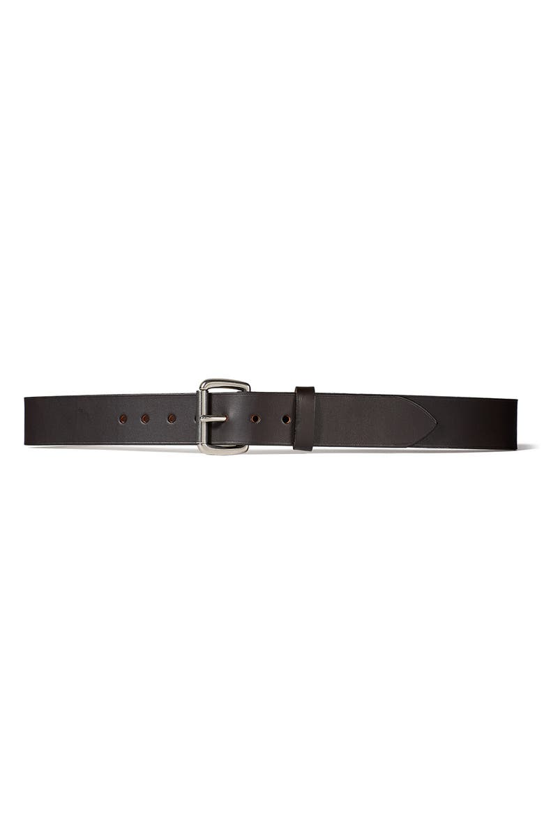 FILSON Bridle Leather Belt, Main, color, BROWN LEATHER/STAINLESS STEEL
