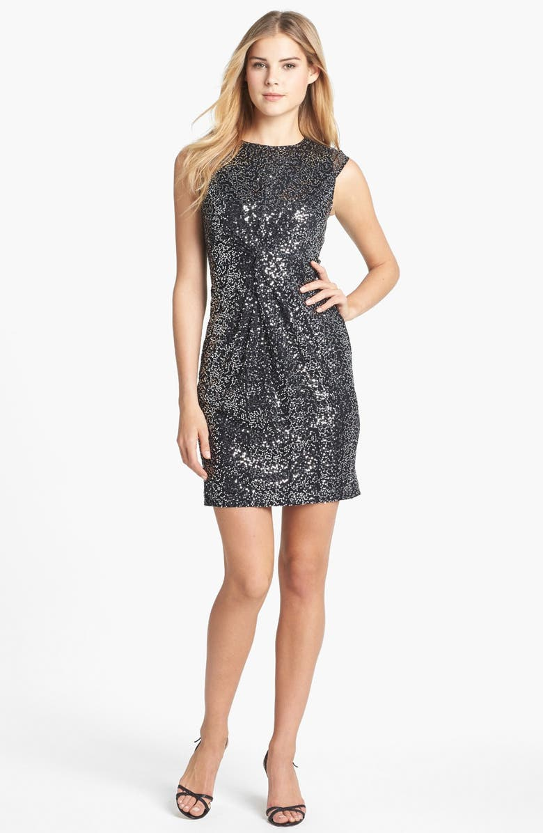 VINCE CAMUTO Knot Front Sequin Mesh Dress, Main, color, 001