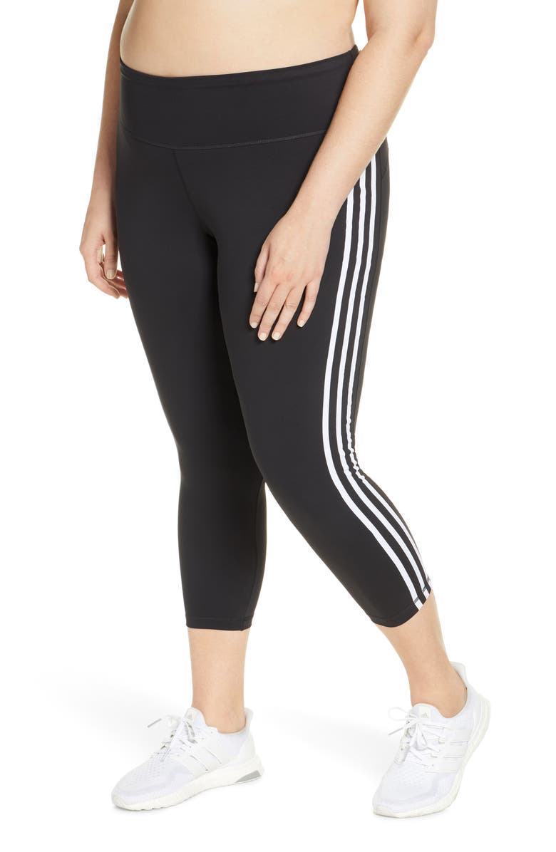 ADIDAS 3-Stripes 7/8 Tights, Main, color, 001