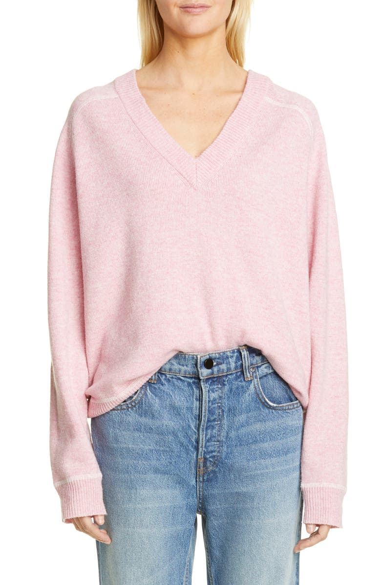GANNI Relaxed V-Neck Sweater, Main, color, 650