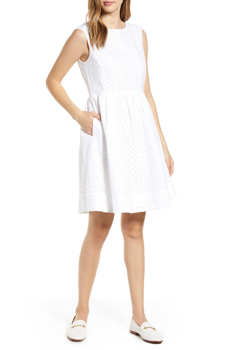 1901 Eyelet Fit & Flare Dress, Main, color, 100