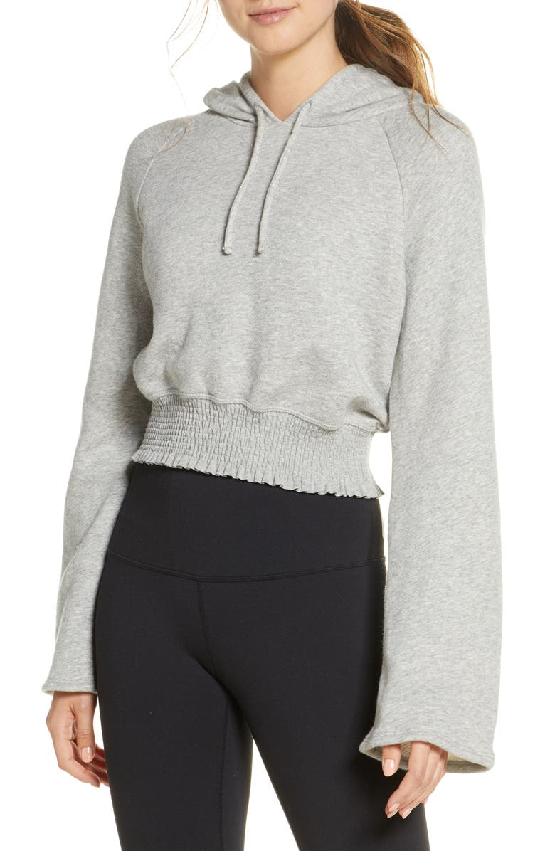 BEYOND YOGA Let's Smock About It Crop French Terry Hoodie, Main, color, 020