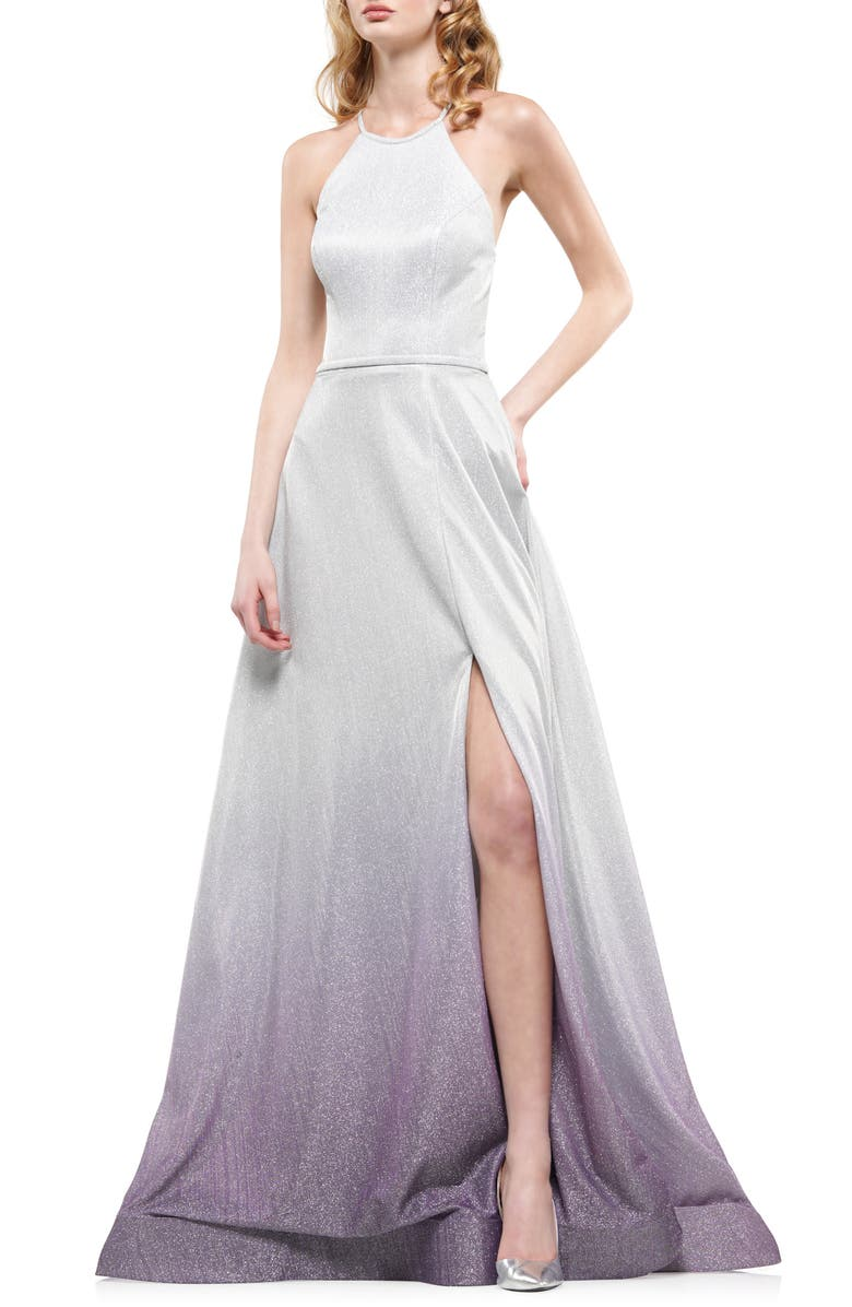COLORS DRESS Ombré Glitter Halter Neck Gown, Main, color, 020
