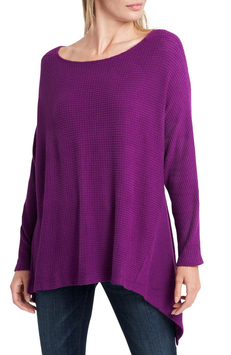1.STATE Knot Back Waffle Knit Top, Main, color, CRUSHED BERRY