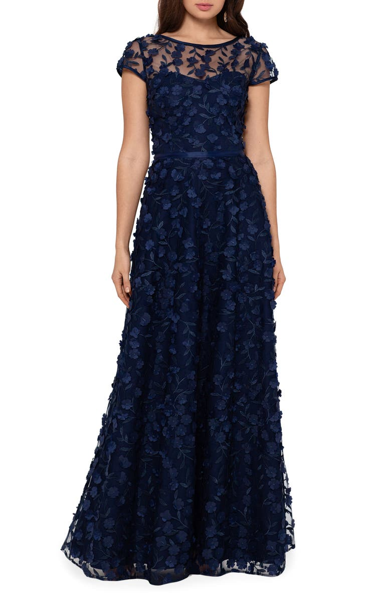 XSCAPE Floral Embroidered Tulle Gown, Main, color, NAVY/ NAVY