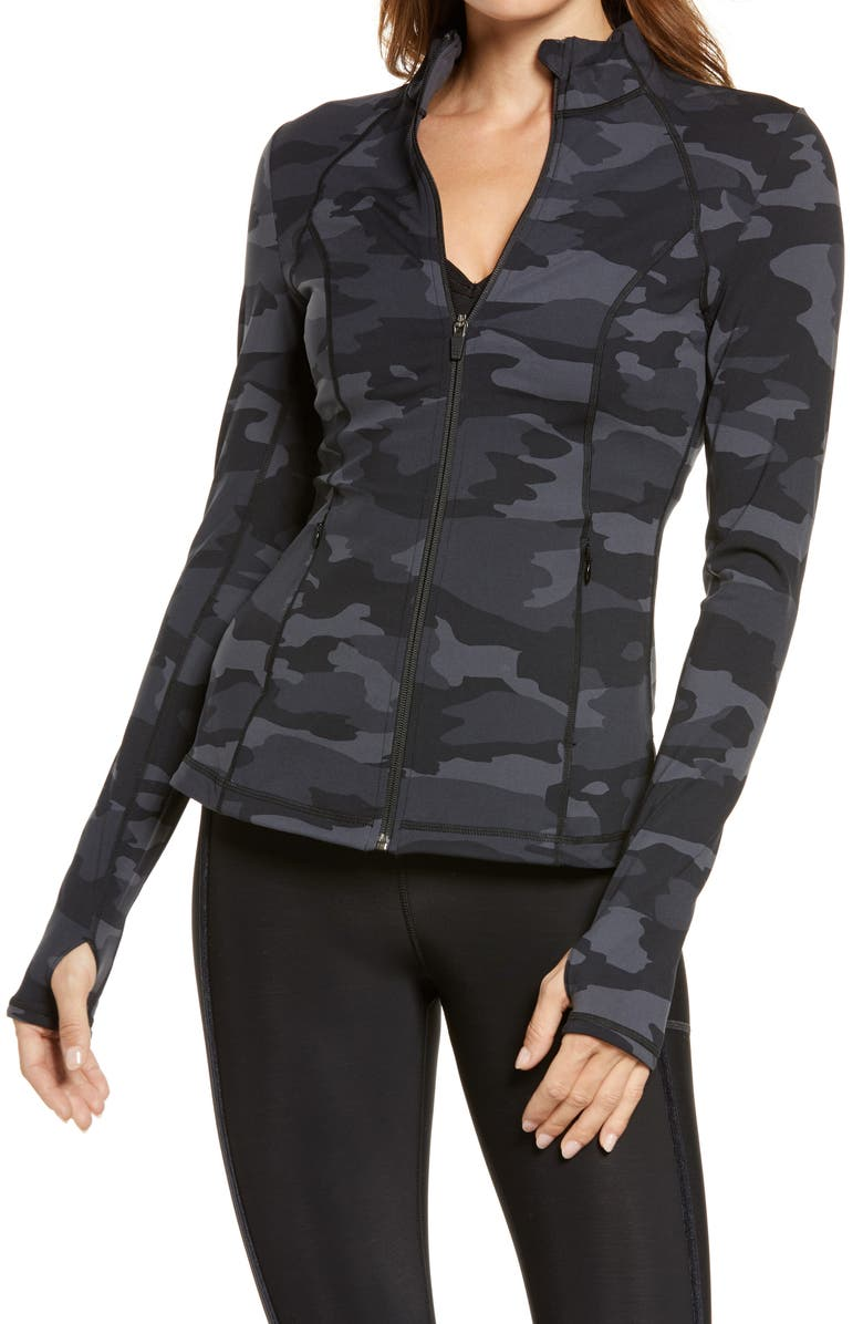 SWEATY BETTY Power Workout Jacket, Main, color, BLACK TONAL CAMO PRINT