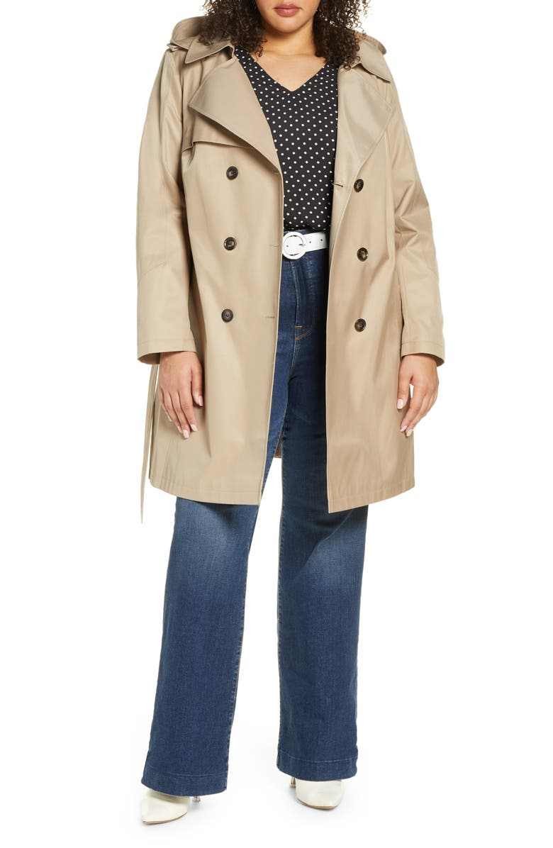 HALOGEN<SUP>®</SUP> Hooded Trench Coat, Main, color, SAND