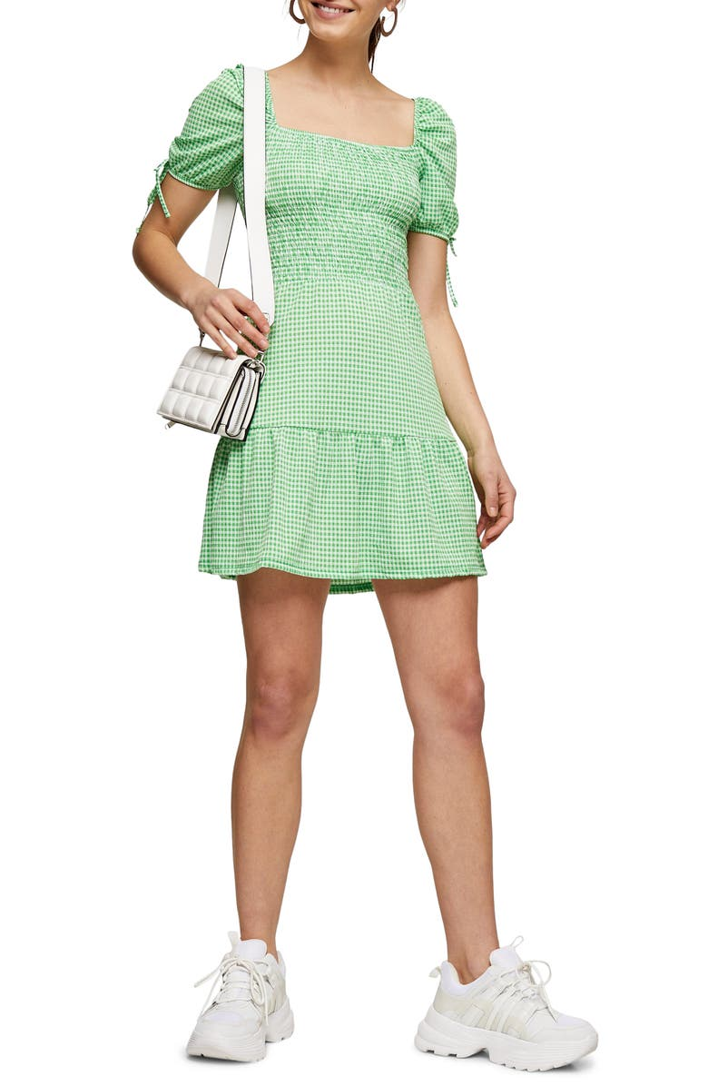 TOPSHOP Gingham Shirred Tea Minidress, Main, color, 300