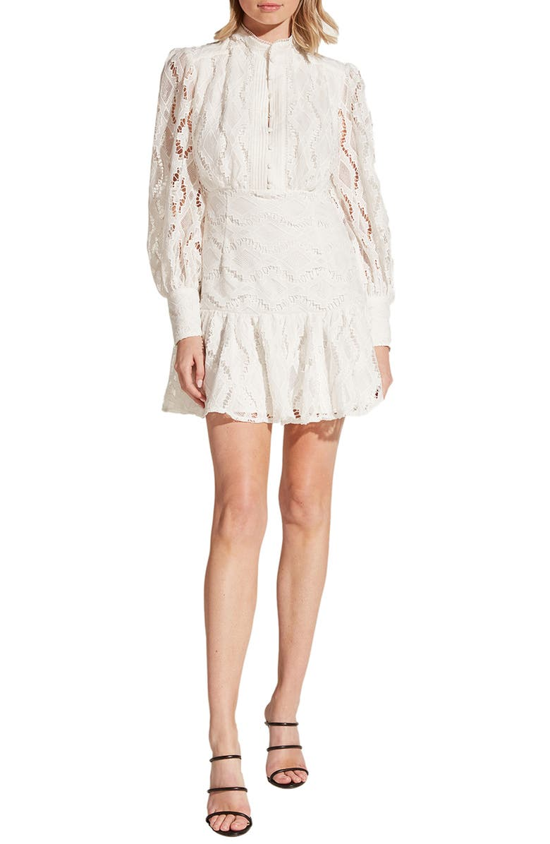 BARDOT Remy Long Sleeve Lace Fit & Flare Dress, Main, color, 901