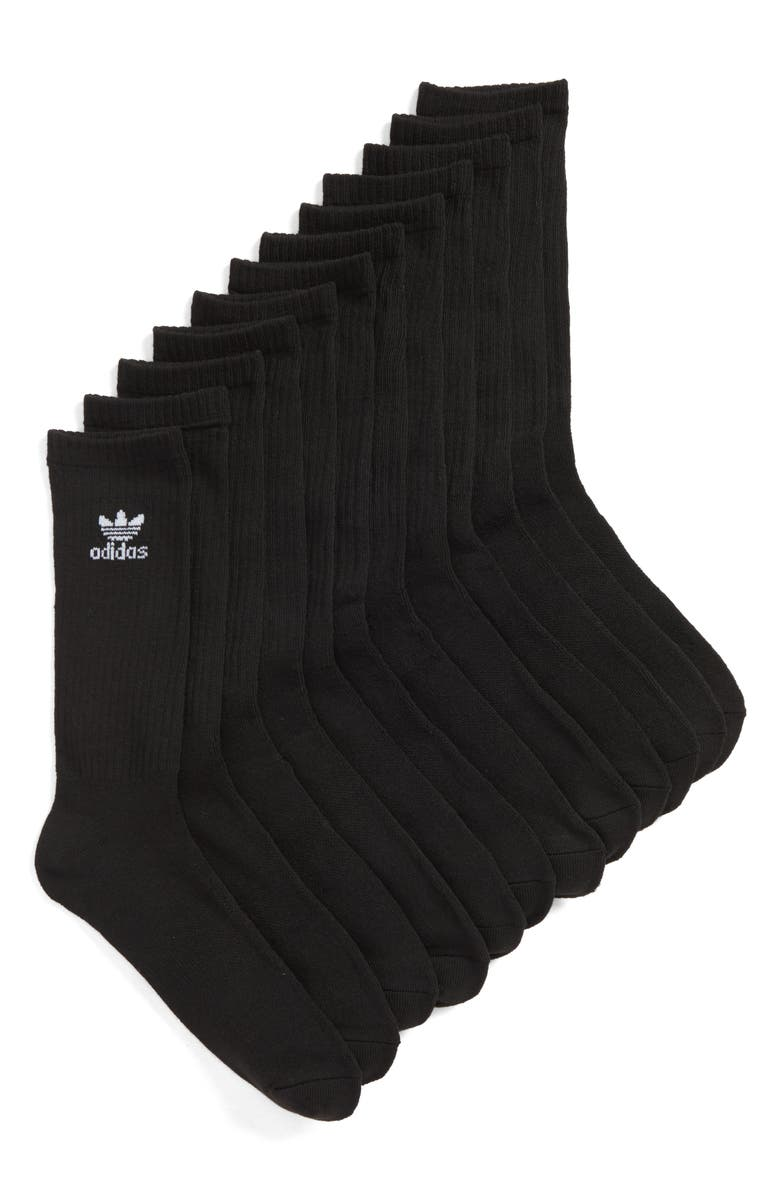 ADIDAS ORIGINALS Trefoil 6-Pack Crew Socks, Main, color, 001