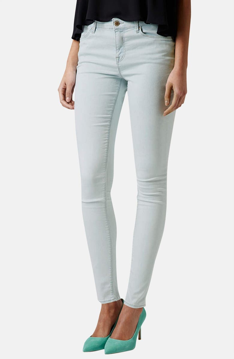 TOPSHOP Moto 'Leigh' Mid Rise Skinny Jeans, Main, color, 420