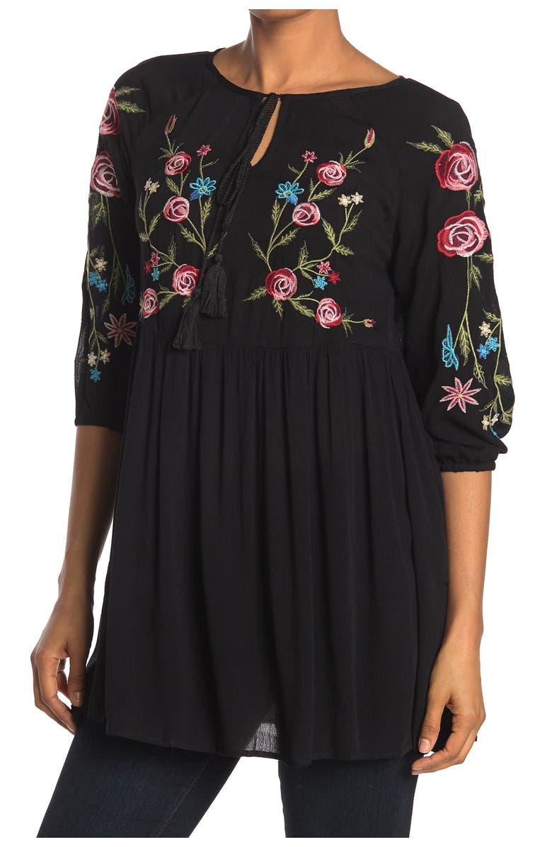 FORGOTTEN GRACE Tie Neck Embroidered Blouse, Main, color, BLACK