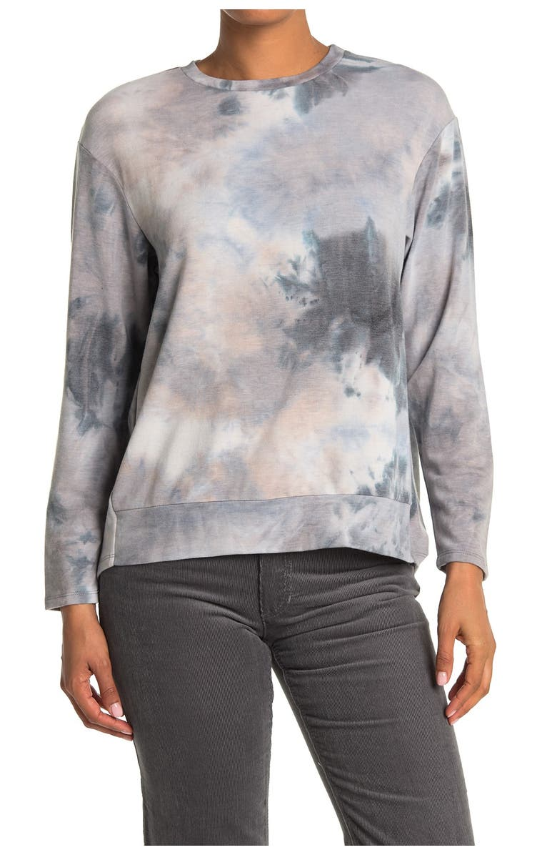 White Willow Tie-Dye Long Sleeve Hi-Lo Pullover