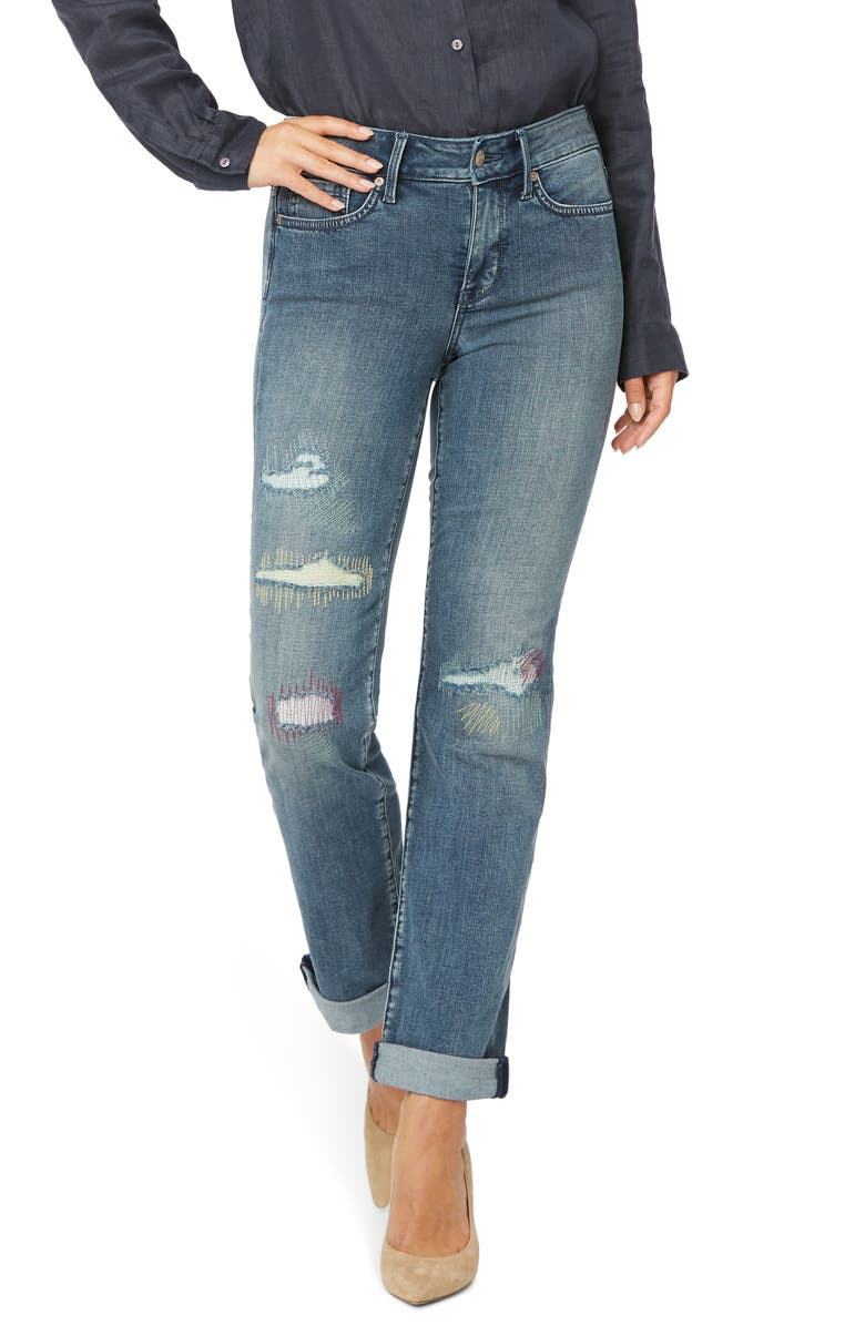 NYDJ Marilyn Cool Embrace<sup>®</sup> Ripped Ankle Straight Leg Jeans, Main, color, CLEAN MONET