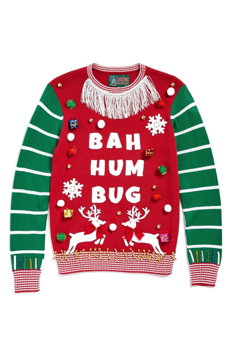 UGLY CHRISTMAS SWEATER 'Make Your Own - White Stripe' Sweater Kit, Main, color, CAYENNE