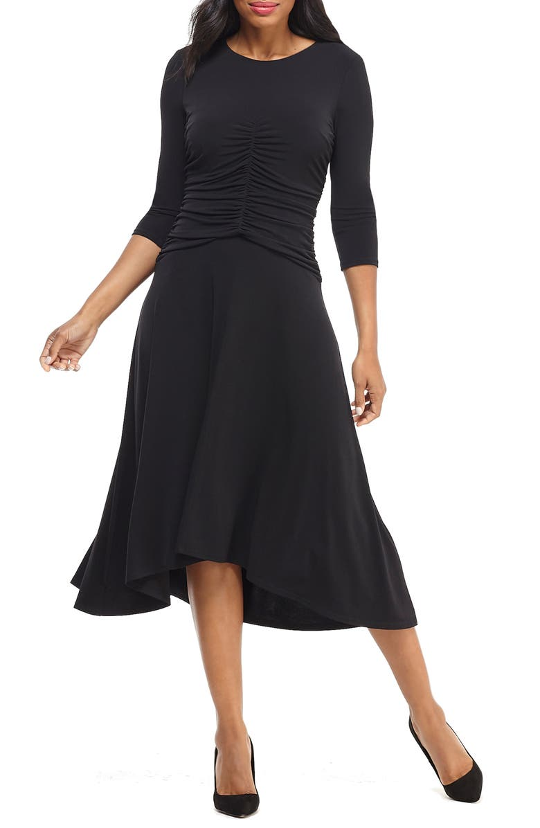 MAGGY LONDON Ruched Jersey Midi Dress, Main, color, 001
