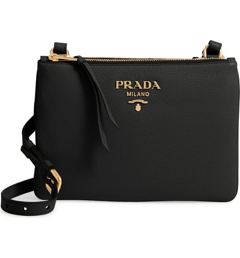 PRADA Daino Double Compartment Leather Crossbody Bag, Main, color, 001