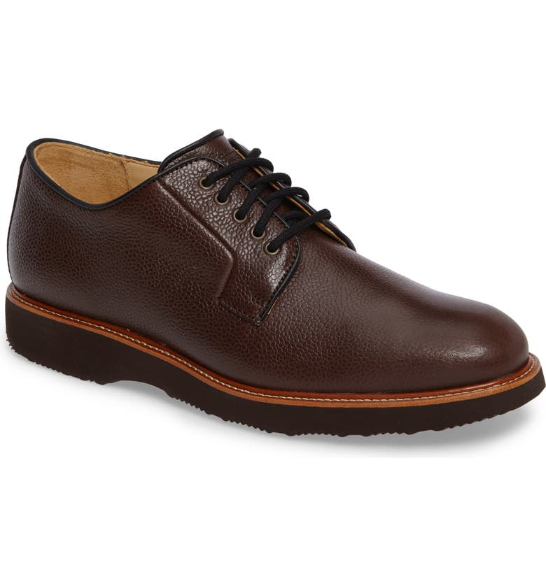SAMUEL HUBBARD Highlander Plain Toe Derby, Main, color, BROWN PEBBLE GRAIN