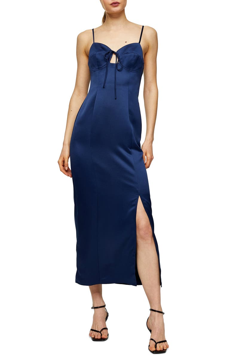 TOPSHOP Bustier Bodice Satin Midi Slipdress, Main, color, 411