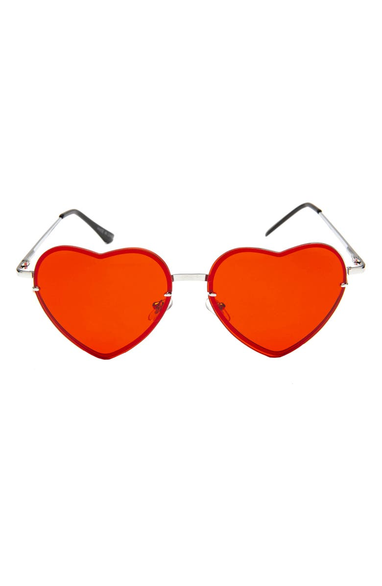 RAD + REFINED Tinted Heart Shaped Sunglasses, Main, color, RED