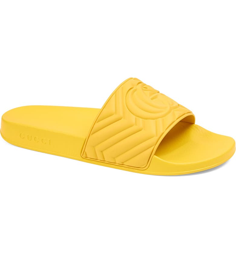 GUCCI Matelassé Slide Sandal, Main, color, SMILE YELLOW